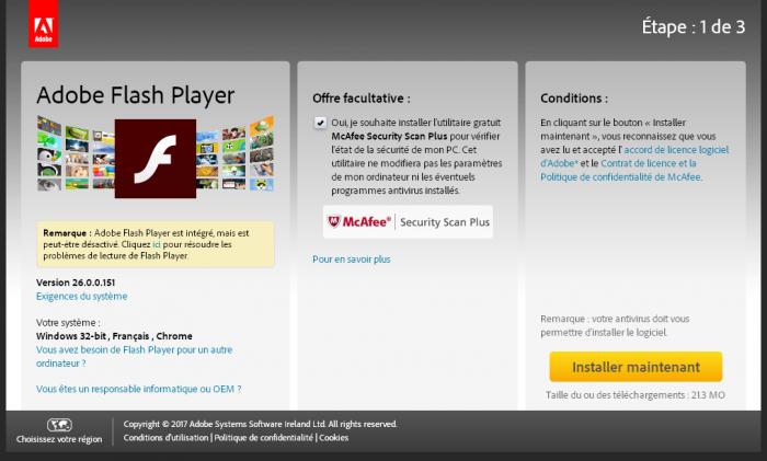 Adobe Flash et MacAfee