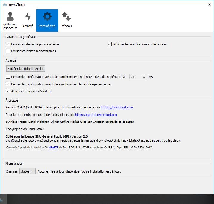 OwnCloud client paramètres