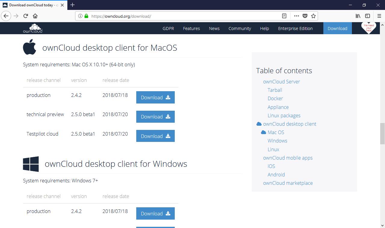 ownCloud installation clientbureau