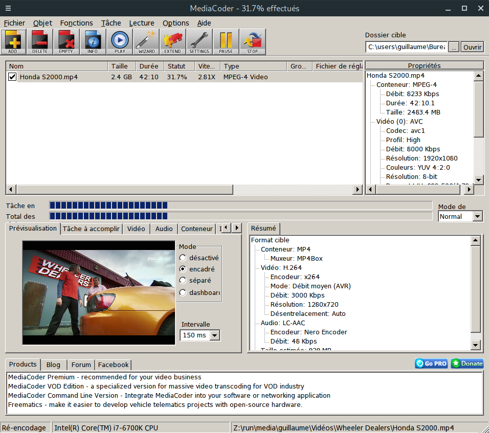 Interface de MediaCoder