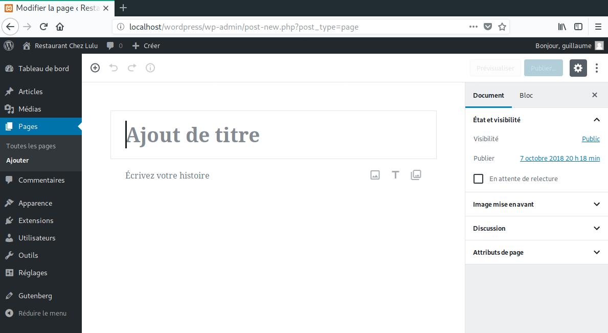 Ajouter page WordPress