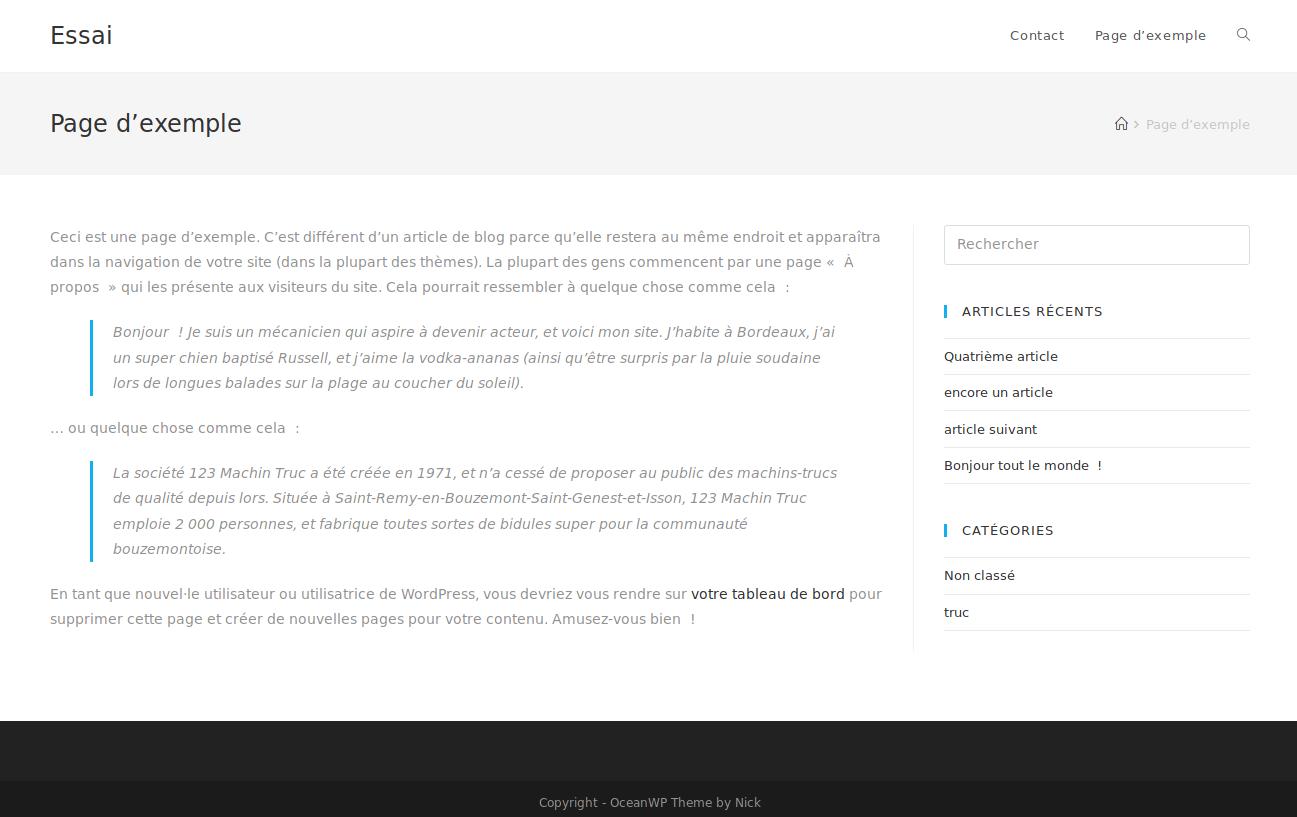 Page avec sidebar