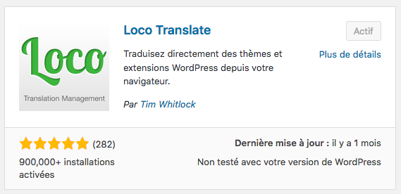 Loco translate, extension WordPress