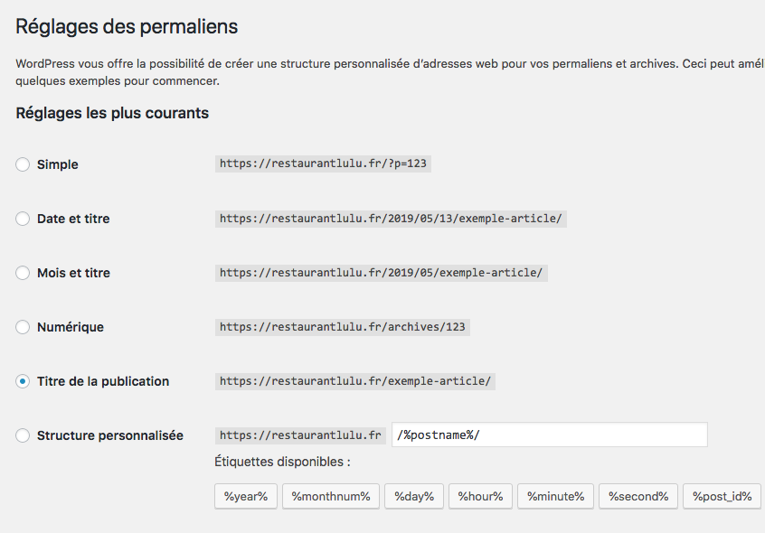 Réglages permaliens WordPress