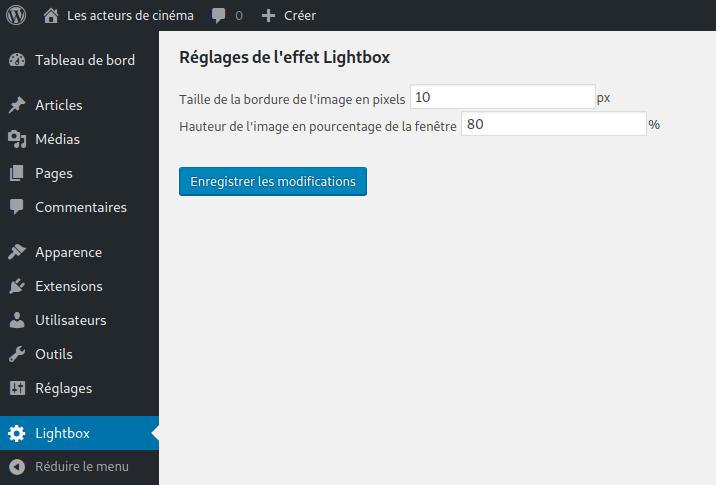 Les réglages de l'extension Lightbox