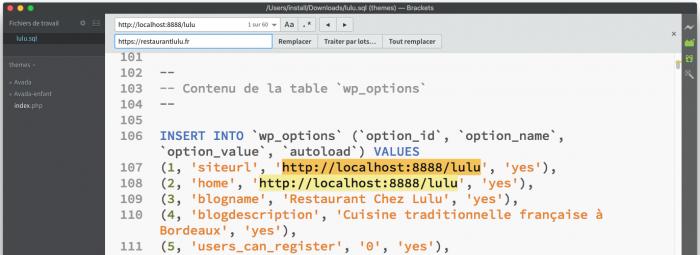 Remplacer URL SQL