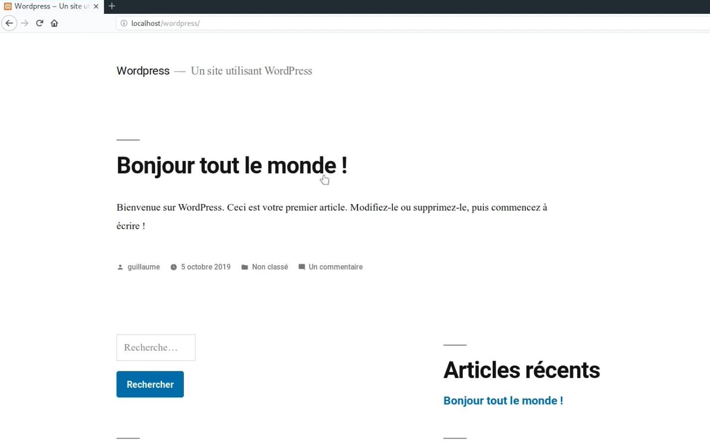 WordPress - Thème TwentyNineteen