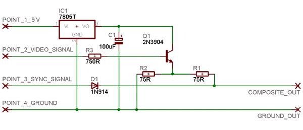 Circuit du module composite pour la console Pong