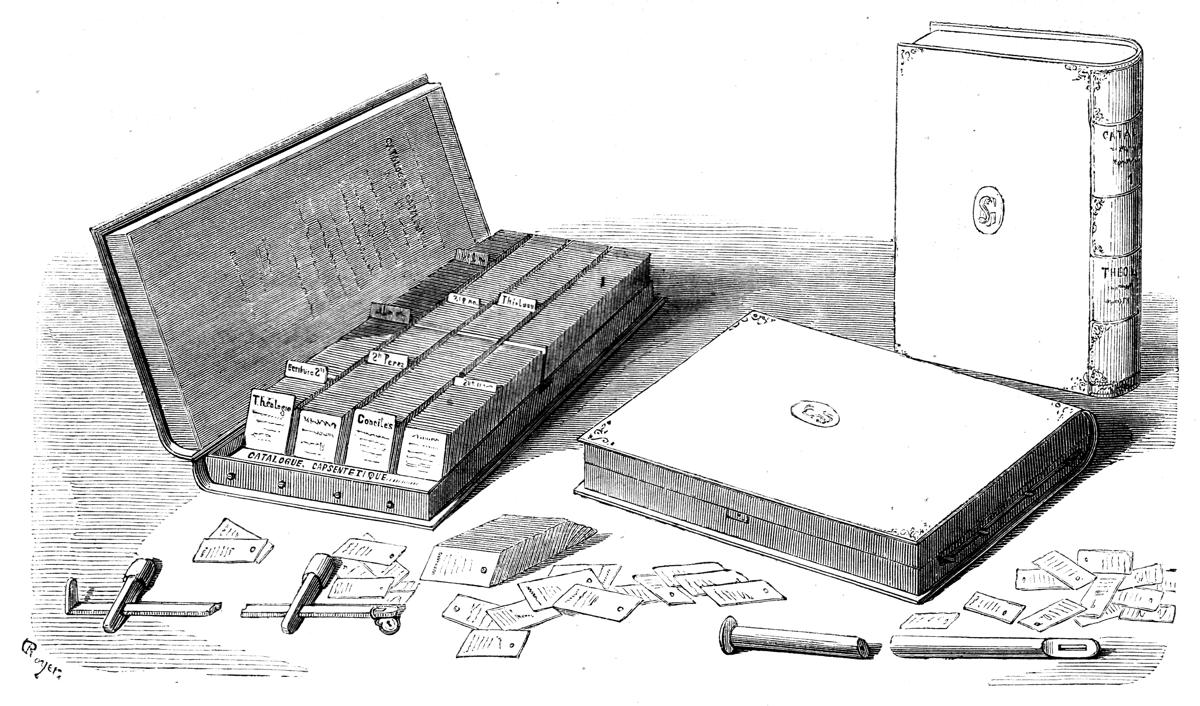 La boîte catalogue à la bibliothèque Sainte Geneviève en 1856